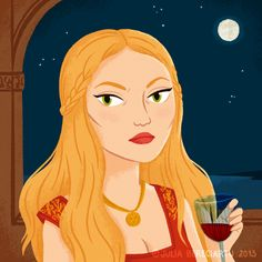 TEN PACES & DRAW - Julia Bereciartu Illustration Pop Art Illustration, Cersei, Ten, Full Moon, Gouache, Disney Characters, Fictional Characters, Aurora Sleeping Beauty, Heaven