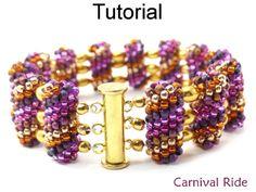 Carnival Ride Tubular Peyote Beaded Bead Bracelet Beading Pattern Tutorial | Simple Bead Patterns