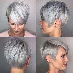 Short Hairstyle Grey Hair - 1