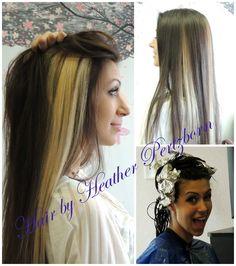 Long dark brown hair, light blonde peek a boo highlight chunks.  This is my soon to b hair color & no more foils too high maintenance!!!