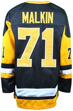 dcf951059db Evgeni Malkin Autographed Alternate Black Gold Hockey Custom Jersey