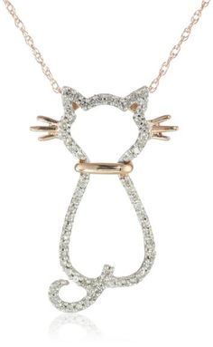 "Amazon.com: XPY 14k Rose Gold Diamond Cat Pendant Necklace (.18cttw, I-J Color, I2-I3 Clarity), 18"": Jewelry $229.99"