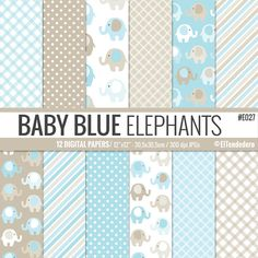Baby boy elephants digital paper pack with baby by eltendedero