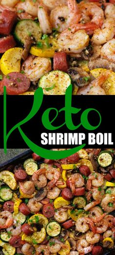 one pan dinner Keto Shrimp Boil! A delicious and easy shrimp boil recipe that anyone can make. Perfect for a weeknight dinner or a weekend party. Simply put all of the ingredients on your sheet pan and then put it in the and dinner is done! Easy Shrimp Boil Recipe, Keto Shrimp Recipes, Low Carb Recipes, Healthy Recipes, Keto Veggie Recipes, Sausage And Shrimp Recipes, Shrimp Boil In Oven, Shrimp Boil Party, Shrimp Bake