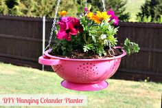 Mommy's Kitchen -  How to Make a DIY Hanging Colander Planter #spring #planter