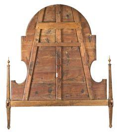 Cabezal de cama Carlos IV en madera de frutal y palosanto, con marquetería de maderas finas, de finales del siglo XVIII