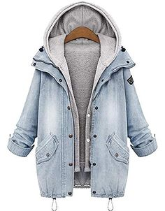 online shopping for LEXUPA Winter Women Warm Collar Hooded Coat Jacket Denim Trench Parka Outwear from top store. See new offer for LEXUPA Winter Women Warm Collar Hooded Coat Jacket Denim Trench Parka Outwear Gilet Jeans, Jeans Denim, Denim Coat, Vest Coat, Loose Jeans, Denim Blazer, Ripped Denim, Jeans Pants, Sweatpants Outfit