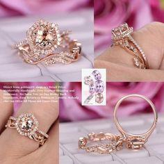 Round Morganite Engagement Ring Sets Pave Diamond Wedding 14K Rose Gold 7mm