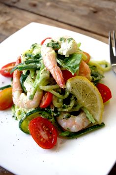 Zucchini 'Pasta' with Prawns & 'Creamy' Avocado Basil Sauce (GF and sans the prawns for a vegan dish!)