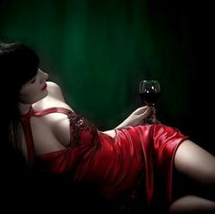 Red dress, glass of red wine