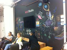 chalkboard walls in common area