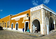 """Izamal is known in Yucatán as """"The Yellow City"""" (most of its buildings are painted yellow) and """"The City of Hills"""" (though most of the """"hills"""" are probably the remains of ancient temple pyramids. Yucatan, Mexico"""