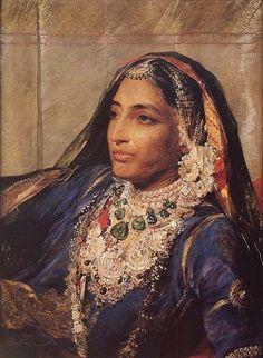 1863 - Portrait de Rani Jind Kaur (aka Jindan) l'épouse du Maharaja Ranjit Singh, très célèbre empereur Sikh du Pendjab. Concernant la place des femmes dans le sikhisme ==> https://fr.wikipedia.org/wiki/Place_des_femmes_dans_le_sikhisme