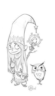 Little Girl and Owl sketch by Cory Loftis