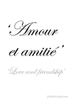 'Love and friendship' how to speak french, learn french, friendship tattoos Beautiful Spanish Quotes, French Love Quotes, Beautiful Words, French Tattoo Quotes, Great Friendship Quotes, Friendship Tattoos, Funny Friendship, French Expressions, Latin Quotes