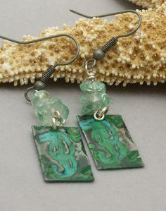 Seahorse Earrings Blue Green Earrings Turquoise by BayMoonDesign