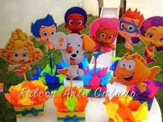 Bubble Guppies centerpiece Wood handcrafted for 1st door FalconArte