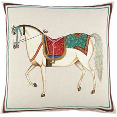 JR by John Robshaw Hand-Painted Horse Decorative Pillow, x Home - Home Decor - Decorative Pillows & Throws - Bloomingdale's Fox Coloring Page, Horse Illustration, Iranian Art, Horse Art, Horse Horse, Mundo Animal, Animal Sketches, China Painting, Islamic Art