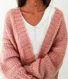 Boucle v-neck cardigan in like a rose color