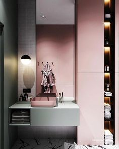 Pink Bathroom Ideas: Catchy Modern Decor - Home Decoration Bathroom Spa, Bathroom Colors, Master Bathroom, Bathroom Ideas, Bathroom Beadboard, Bathroom Lighting, Bad Inspiration, Bathroom Inspiration, Christmas Inspiration
