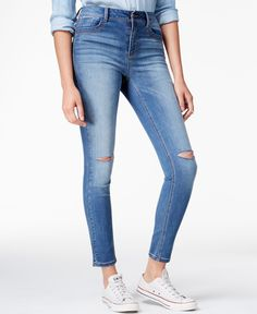 Your favorite skinny jeans get a modern update from Rewash with the latest  high-waisted styling and front rips.
