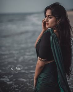 Image may contain: 1 person, standing and ocean Cute Beauty, Beauty Full Girl, Beauty Women, Beautiful Saree, Beautiful Indian Actress, Beautiful Actresses, Indian Photoshoot, Saree Photoshoot, Wedding Couple Poses Photography