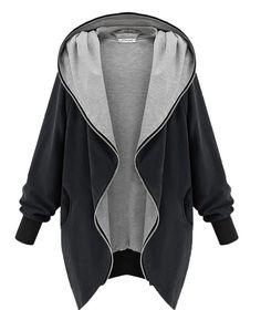 Minetom Autumn Ladies, Womens Hoodie Hooded Parka Womens Parka Hooded Zipper Jacket Oversize Cardigan Blazer Coat Outwear Black Green (Black Size Xxl Eu)