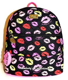 Betsey Johnson Luv Betsey Pucker Up Lips Kisses Quilted Black Backpack Bag NWT #BetseyJohnson #ShoulderBagBackpackBackpackCosmeticBagCrossbody