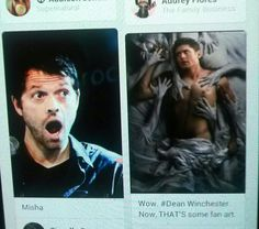 My Pinterest did a thing that was so awesome, I had to share. #Supernatural #Jensen #Misha #ThisTotallyJustHappened #AndItWasPerfect #Destiel #Cockles