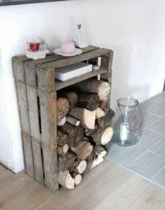 Rangement a bois style campagne rustique brute inclus le rangement de la box telephone & internet