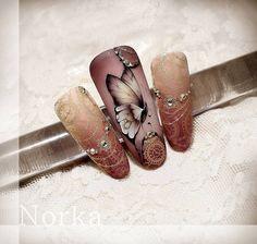 "#nailart #vintagenailart #elegantnailart #butterflynailart N o r k a A n d r e a S z. (@norkanaildesign) on Instagram: ""Gel painting …"""