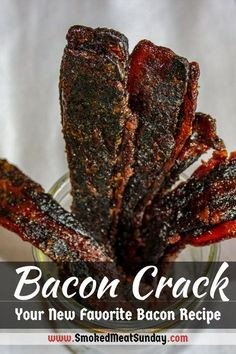 Everyone loves bacon, right? What if I told you that delicious slice of smoked pork belly can taste even better? Allow me to introduce you to my favorite bacon recipe, bacon crack. This bacon recipe uses the smoker. It's a bacon explosion. Jerky Recipes, Traeger Recipes, Smoked Meat Recipes, Bacon Recipes, Grilling Recipes, Double Smoked Bacon Recipe, Recipe Double, Venison Recipes, Barbecue