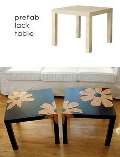 DIY Interior Decorating, DIY Furniture Makeovers - They have those tables at IKEA for like seven bucks or so