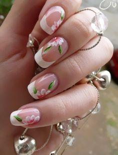 Floral French Manicure  pretty...this would be pretty on your nails.
