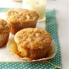 Ginger Pear Muffins Recipe -This wonderful recipe has been in my files for years. The chunks of fresh pear make each bite moist and delicious. —Lorraine Caland, Thunder Bay, Ontario