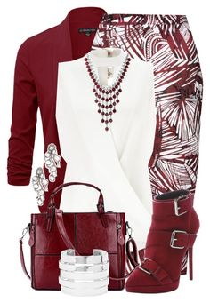 """Burgundy & White"" by jennifernoriega ❤ liked on Polyvore featuring Glamorous, Miss Selfridge, Giuseppe Zanotti, Lucky Brand, Forever 21 and Saqqara"