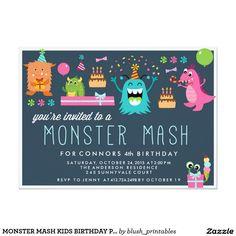 MONSTER MASH KIDS BIRTHDAY PARTY INVITATION invite.  Artwork designed by Blush Paper Co.Price $2.01 per card