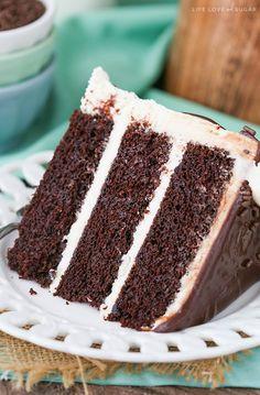 Baileys Chocolate Cake - layers of chocolate cake flavored with Baileys Irish Cream and Baileys frosting!