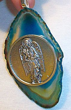 $39 Big Archangel Angel jewelry: St. Rapheal on Agate slice pendant