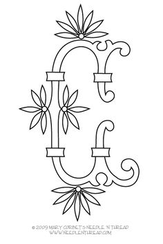 """Monogram for Hand Embroidery: Fan Flowers C – Needle'nThread.com  So beautiful. Wish she had the """"U"""" finished. I will patiently await!"""