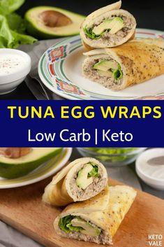 This keto tuna egg wraps recipe is super low carb breakfast so easy to make. This keto tuna egg wraps recipe is super low carb breakfast so easy to make. Low Carb Meal, Low Carb Lunch, Low Carb Breakfast, Keto Meal Plan, Health Breakfast, Meal Prep, Low Carb Recipes, Diet Recipes, Healthy Recipes