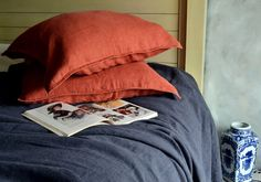 The pair (2) of Rustic Rough Terracotta colour natural stonewashed linen Euro size pillow shams with zipper.    Only one pair available.