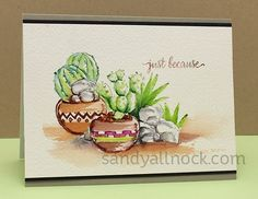 Art Impressions Rubber Stamps: Ai Wonderful Watercolor.  Handmade Southwest style card  Handmade.  pots, cactus, rocks