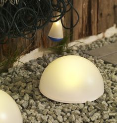 Sun light at night with IKEA solar-powered floor lights for outdoor. We bring these camping and live them