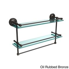 Allied Brass Prestige Regal Collection 22-inch Gallery Double Glass Shelf with Towel Bar (Oil Rubbed Bronze), Clear
