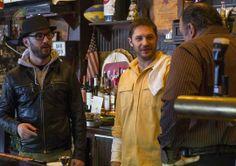 | USA TODAY | Director Michael Roskam, left, Tom Hardy and James Gandolfini on the set of THE DROP.