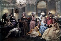 A group shot of all the actors featured in Marie Antoinette such as Louis XIV, played by Jason Schwartzman, Dunst as Marie Antoinette in a pale blue corseted dress, and the queen's lover, Alex Von Fersen, looking angrily over at her. Leibovitz created a stunning late-night gambling scene.  This photo was taken at the Centre Historique des Archives Nationales, Hôtel de Soubise. All the costumes were designed by Milena Canonero and all the wigs were designed by Rocchetti.  Vogue September 2006