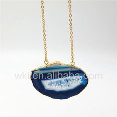 WT-N812 off Colorful Natural Agate Slice NecklaceFreedom