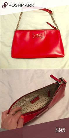 Kate spade red leather purse Worn few times. - excellent condition !  I purchased  same one , then received a bday gift for same one , so selling as I have 2 now ! kate spade Bags Shoulder Bags