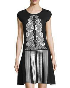 Cap-Sleeve Printed Sweater Dress, Black/Ivory by Max Studio at Neiman Marcus Last Call.
